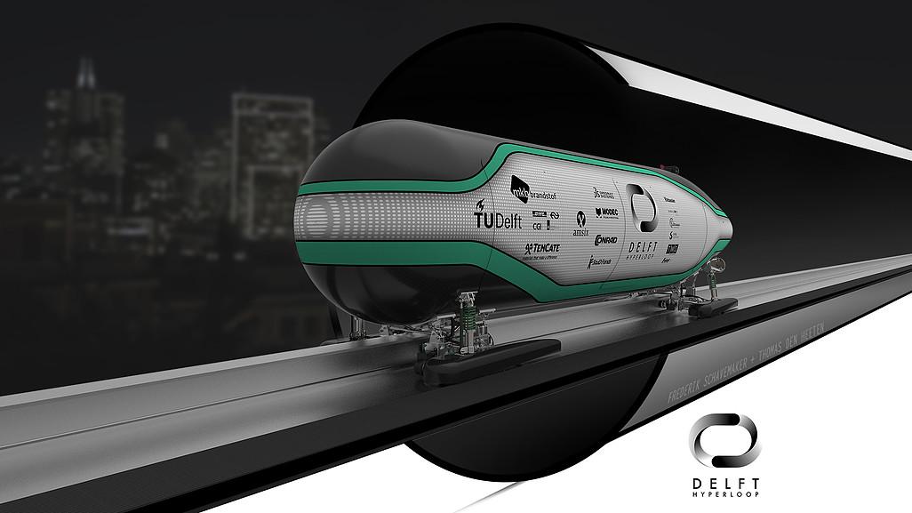 Het ontwerp van de Hyperloop door de TU Delft (Foto: Hyperloop; TU Delft)